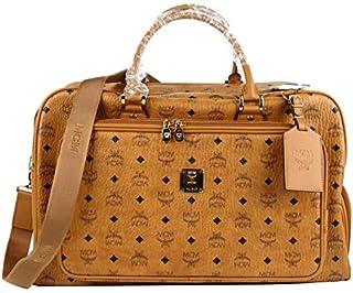 MCM Women's Cognac Brown Visetos Coated Canvas Boston Duffel Bag MMG8AXL21CO001