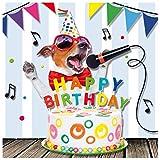 Susy Card 40010625 Geburtstagskarte 'Singender Hund' Maße: 15 x 0, 2 cm