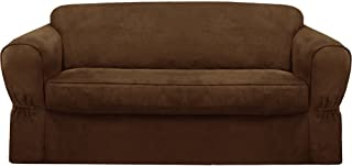 MAYTEX Piped Suede 2-Piece Sofa Furniture Cover/Slipcover, Brown