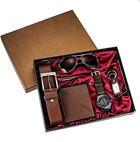 FSHOW 6PCS Caja Regalo para Hombres con Caja de cinturón de cinturón de cinturón Reloj de vidrios Llavero bolígrafo bolígrafo, cumpleaños de Hombre Boda (Color : Brown)