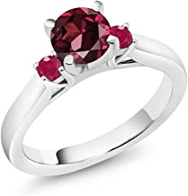 Gem Stone King 1.28 Ct Round Red Rhodolite Garnet Red Ruby 925 Sterling Silver 3-Stone Engagement Ring