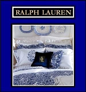 RALPH LAUREN PORCELAIN BLUE ((COMPLETE 4 PIECE SET)) TAMARIND KING SIZE COMFORTER, SHAMS & BED-SKIRT