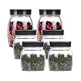 Recipiente hermetico Embarcación de almacenamiento de alimentos de vidrio Jarra de contenedor de contenedores de almacenamiento de alimentos con tapa para té Sugar Snack Cereal 6 Pack Alta capacidad