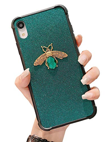 iPhone XR Case, KERZZIL Shockproof Glitter Sparkly Bling 3D Diamond Matel Bee Girl Women Soft Bumper Protective Phone Case Cover for Apple iPhone XR 6.1inches (Green)