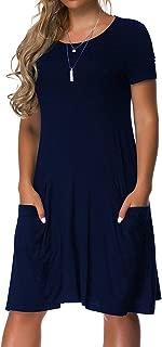 VERABENDI Women's Plus Size Long Short Sleeve Dress Casual Loose Pocket T-Shirt Dress