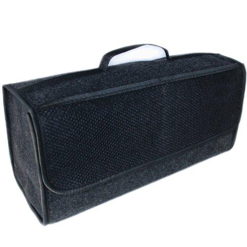 Handycop® Kofferraumtasche Groß Schwarz Filz Werkzeugtasche mit Klett 25,5 x 48 x 15,5 cm haftet an Kofferraumverkleidung & Boden