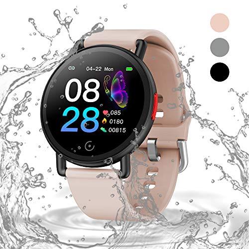 Oriver Smartwatch 1.3 Zoll Großem Farbbildschirm Fitnessuhr IP67 Wasserdicht Fitness Watch mit Schrittzähler, Pulsmesser und Schlafanalyse für Damen Herren, Schwarz