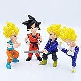 KIJIGHG 4 Unids/Set Dragon Ball Goku Super Saiyan Trunks Vegeta PVC Vegeta Anime Figura Figuras de A...