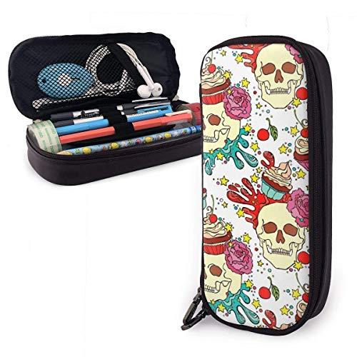 XCNGG Big Capacity Pencil Case Bag Stiftbeutelhalter Large Storage Stationery Organizer für Schulbedarf Office College (Skull Cupcake)
