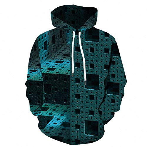 Blue and White Reflections Giacca a Quadri sparsi Maglione Con Cappuccio Maglione 3D Stampa Digitale Giacca Sportiva Casual-Color_6XL