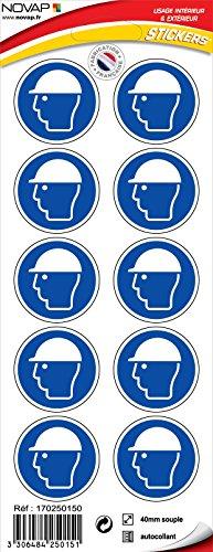 novap–Piktogramm–-Helm gesetzlichem Schutz–Brett 10Piktogramme Klebemittel) Durchmesser 40mm–-Brett 10Piktogramme Durchmesser 40mm