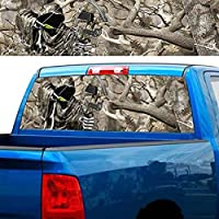 トラックリアウィンドウステッカーデカールカーグラフィック穴あきデカール楽しいオートウィンドウバックステッカーSUVバントラックピックアップリアウィンドウデカールステッカー E- 168x74 cm