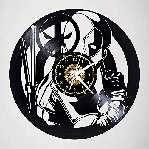 wwwff Deadpool Schallplatte Wanduhr LED leuchtende Silhouette Rekord Kunst handgefertigte Schlafzimmer Dekoration Geschenk mit LED-Licht 12 Zoll-No_Led_Light