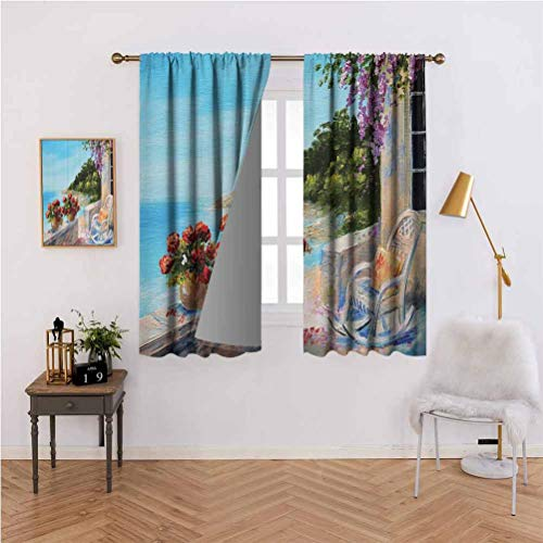 Lakehouse Decor Collection Energy-Saving and Noise-reducing Sea View from a Balcony with Cosy Rocking Chair and Flowers in Summer Clear Sky Oil Painting Rod-Shaped Pocket Curtains for The Living Room
