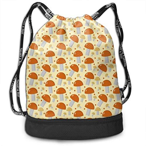 OKIJH Mushrooms Seamless Men and Women General Backpack Multifunctional Bundle Backpack Fashion Travel Backpack Drawstring Backpack