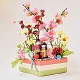 [HanaSakie] ひな祭り 飾り お雛様 菱餅ポット おひなさま 置物 幅19cm×高24cm×奥行き9.5cm かわいい 華やか 造花 CT触媒加工済