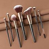 PrittUHU 7/10 / 15pcs / Set Pinceles de Maquillaje Eye Shadow Eyeliner Eyeliner Lip Foundation Powder Polvo de Maquillaje Profesional (Handle Color : 7Pcs Black)