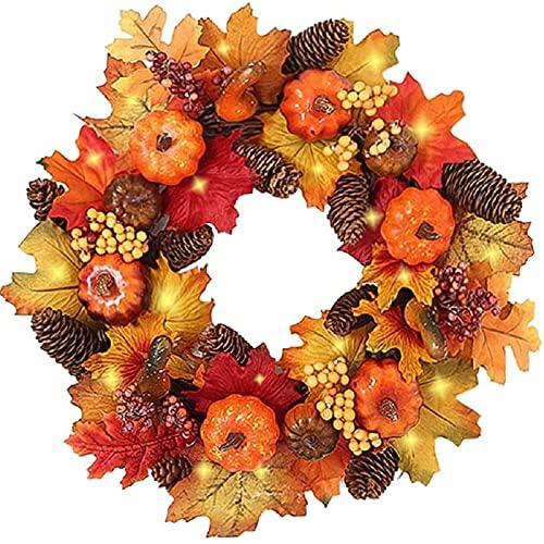 IMOPUITI Herbstkränze mit LED-Licht, 40 cm, Herbst-Ahornblatt-Kürbis-Beeren-Girlande, künstlicher Blumenkranz, Haustür, für Halloween, Weihnachten, Thanksgiving Wand, Heimdekoration