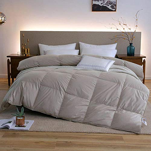 cyxb Down Alternative Duvet,Goose/Duck Down Quilt Duvets Thicken Winter warm feather Comforters Cotton Cover King Queen Twin Full-gray_220*240cm/87 * 94'/8.8LB