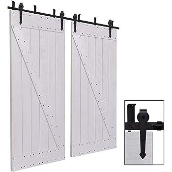 Herraje Puerta Corredera Techo 292cm/9.6ft Negro, CCJH Riel Puerta Corredera Armario, Adecuado para 2 Puertas de 73 cm de ancho [Arrow Shape Hanger]: Amazon.es: Bricolaje y herramientas