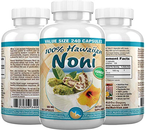 Hawaii Nutrition Company - Noni - 100% Grade A Noni Fruit Capsule - 240 Capsules - Boost Your Immune System, Manage Muscle & Joint Pain, Improve Digestion