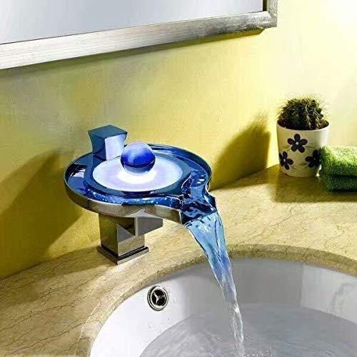 Grifo Grifo de lavabo LED, grifo de cascada de baño, grifos de cascada LED de latón, lavabo eléctrico, mezclador de grifo LED Torneira