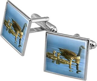 Canada Canadian Geese Family Square Cufflink Set - Silver or Gold