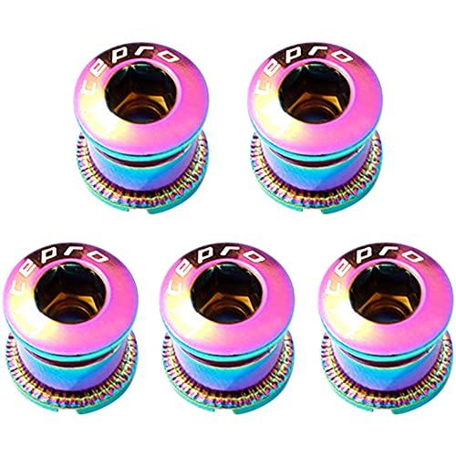 Zivisk Juego de 5 pernos de plato individuales M8 para ruedas y tuercas de acero 7075 para bicicleta de carretera, bicicleta de montaña, BMX, MTB (colorido)