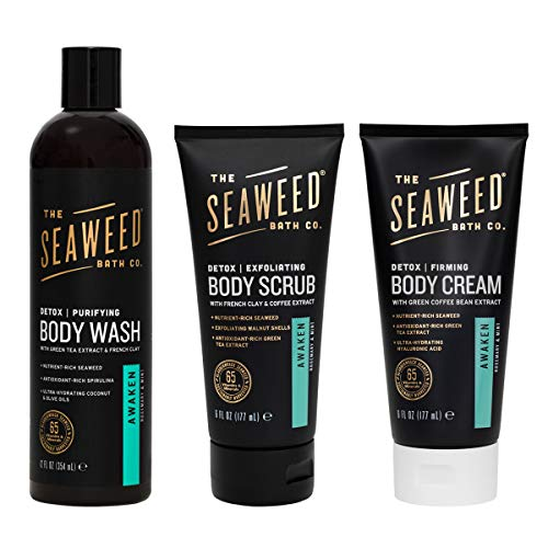 The Seaweed Bath Co. Detox Firming Body Wash, Body Scrub & Body Cream, Awaken (Rosemary & Mint), Vegan, Paraben Free, 3x12oz & 1 x6oz