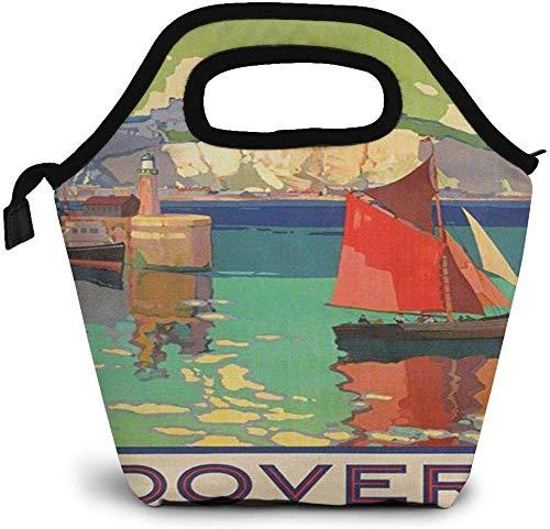 Sailboats - Póster de viaje vintage Dover England con aislamiento para el almuerzo personalizado Bento Box Picnic Cooler portátil bolsa de almuerzo para mujeres y niñas, hombres y niños