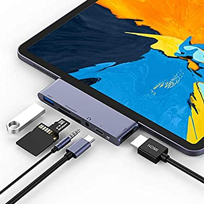 USB C Hub, 4 in 1 Type C Hub to HDMI VGA USB 3.0 USB C Multiport Adapter for MacBook/MacBook Pro/iPad Pro 2018/Chromebook Pixel/Matebook X/Samsung Galaxy S8/Huawei mate10/LG G5 and More (Gray)