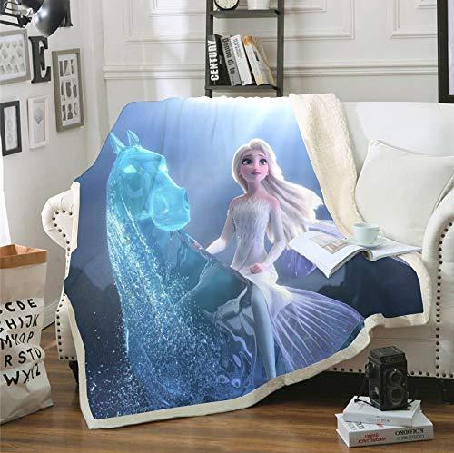 SMNVCKJ Frozen Decke Olaf Kristoff Anna Und ELSA Fleecedecken for Kinder,Warme Wolldecke 100% Mikrofaser,für Schlafsofa (8,130x150CM)