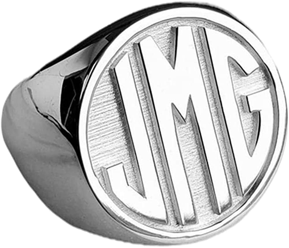 Elefezar Price reduction Personalized Monogram Initial Ring Ch 925 Signet Silver OFFicial shop