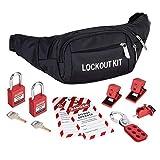 HOLULO Kit de Bloqueo y Etiquetado, Incluso 2 * Etiqueta de bloqueo, 1 * cerrojo de bloqueo, 3 * bloqueo del interruptor, 2 * candado de seguridad, 1 * bolsa de bolsillo