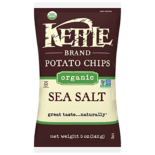 Kettle Brand Potato Chips, Organic Sea Salt, 5 Ounce Bags (Pack of 15)