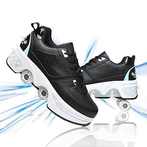 Hmlopx Deformación Caminata Automática Patines De Ruedas 2 En 1 Multifunción Ajustable Cuatro Ruedas Skate Calzado Deportivo Casual para Niños Adultos,Black Blue,39EU/8.5US