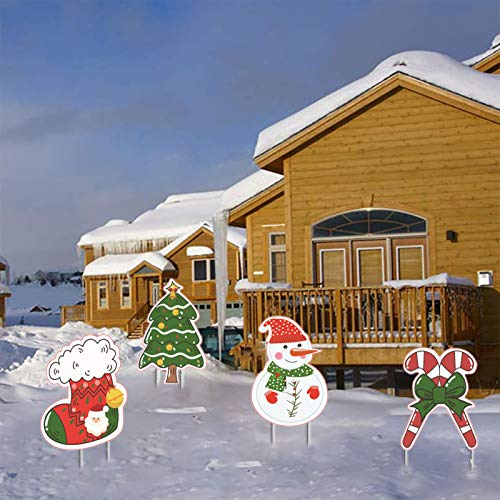 Anxicer Weihnachten Yard Sign Outdoor Rasen Dekorationen Weihnachtsbaum,Weihnachtssocken,Schneemann,Xmas Yard Stakes Schilder,Holiday Garden Dekorationen