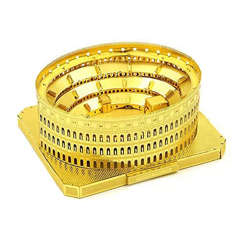 PY- FLRINGPIN Microworld 3D Metall Puzzle Kolosseum, 3D Bauwerke Puzzle Geschenk für Erwachsene und Kinder, Modellbau ganz ohne Kleber J002 (Gold)