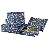 Koffer Organizer Reise Kleidertaschen, EASEHOME 6 Stück wasserdichte Kofferorganizer Packtaschen Reisegepäck für Kleidung Schuhe Unterwäsche Kosmetik, Dunkel Blau Flamingo