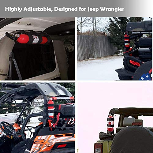 Adjustbale Roll Bar Fire Extinguisher Holder 3 lb for All Series of Jeep Wrangler Fire Extinguisher Holder,for ATV/UTV Fire Extinguisher Mount, for Jeep Bracket Fire Extinguisher Mount