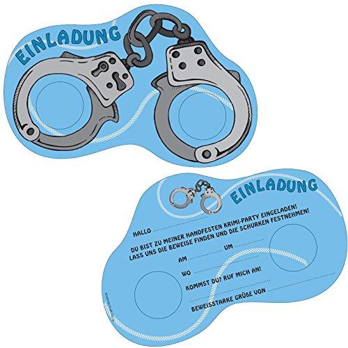 6 Einladungskarten * Polizei & DETEKTIV * für Kindergeburtstag und Mottoparty von DEKOSPASS // Handschellen Krimidinner Geburtstag Party Einladung Einladungen Karte Einladungs-Set Motto Krimi
