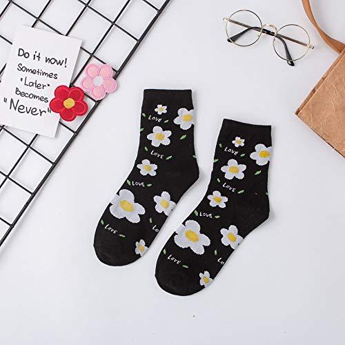 NANAYOUPIN Neue kleine Blume Socken, College Wind Skateboard Socken Baumwolle Rohr Socken weibliche Flut schwarz