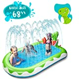 "X TOYZ Inflatable Sprinkler Pool for Kids Large 68"", 3 in 1 Dinosaur Splash Water Playing Pad Kiddie Pool, Spray Pad Swimming Pool, Summer Water Toys for Outdoor Backyard (Large)"