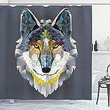 wobuzhidaoshamingzi Zoo Duschvorhang, Grafik von Coyote Wolf Beast Modernes Porträt Geometrischer bunter Druck Graue Marine