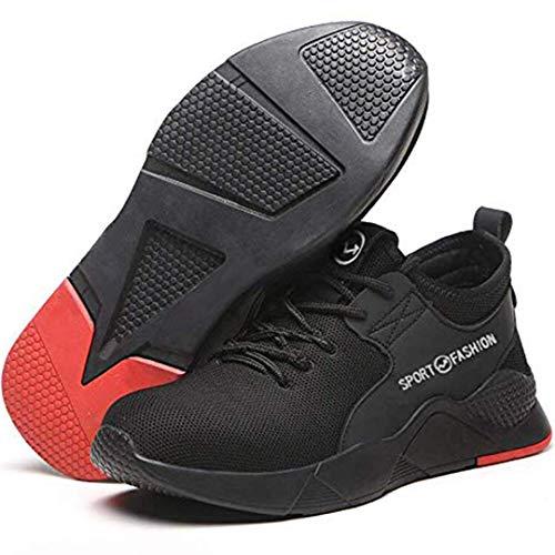 TRUTUFF Men Safety Shoes - Steel Toe, Puncture Proof Kevlar Midsole, Shock Proof (Numeric_11) Black