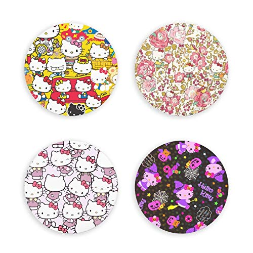 songyang Hello-Kitty 4 Pezzi magneti frigo Cucina Ufficio Lavagna magneti Frigorifero 3D apribottiglie Rotondi/magneti frigo Decor