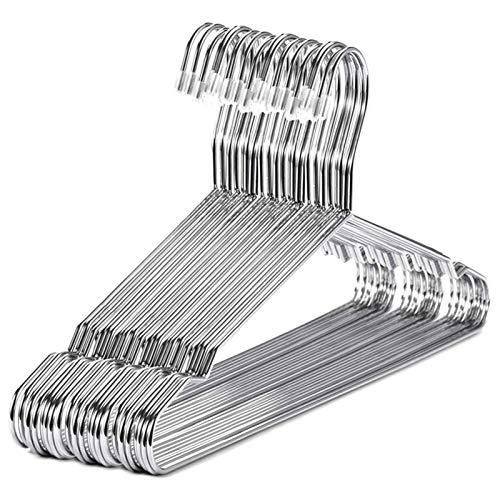 TASJS Perchas de Acero Inoxidable de 40 cm 20Pcs Perchas for la Ropa estándar con Muesca Percha Ahorro de Espacio (Color : Silver)