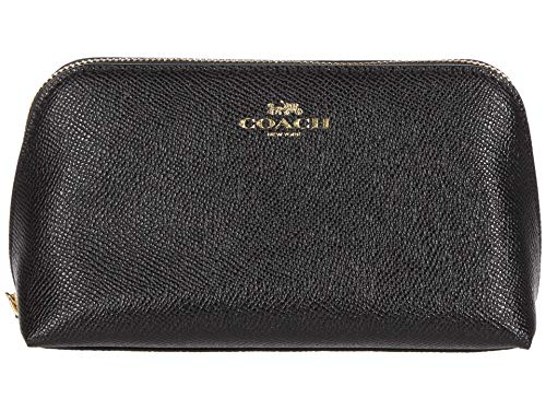COACH Cross Grain Leather Cosmetic Case 17 Black One Size