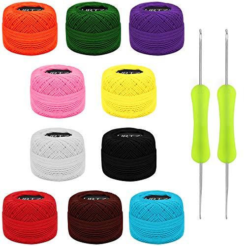 Kurtzy Hilo para Tejer a Crochet (10 Ovillos) Hilos Ganchillo con 2 Agujas de Ganchillo (1 mm y 2 mm) Cada Madeja Pesa 10 g – Total de 600 m de Hilos de Colores - Kit Crochet Surtido