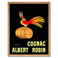 Advert Drink Alcohol Albert Robin Cognac Brandy Bird France Art Print Framed Poster Wall Decor 12X16 Inch 広告ドリンクアルコール鳥フランスポスター壁デコ